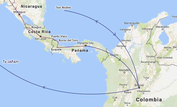 世界一周 中米 地図 ルートマップ