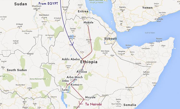 世界一周 エチオピア ルートマップ