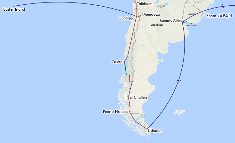 世界一周 南アメリカ ルート 地図