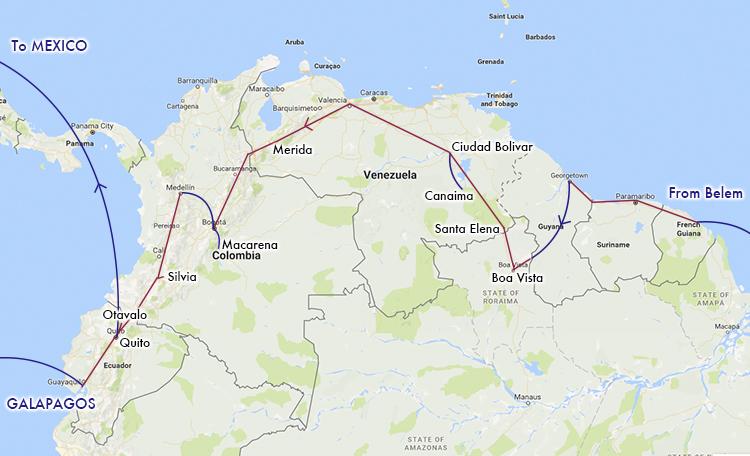 南米 ルートマップ 世界一周 地図