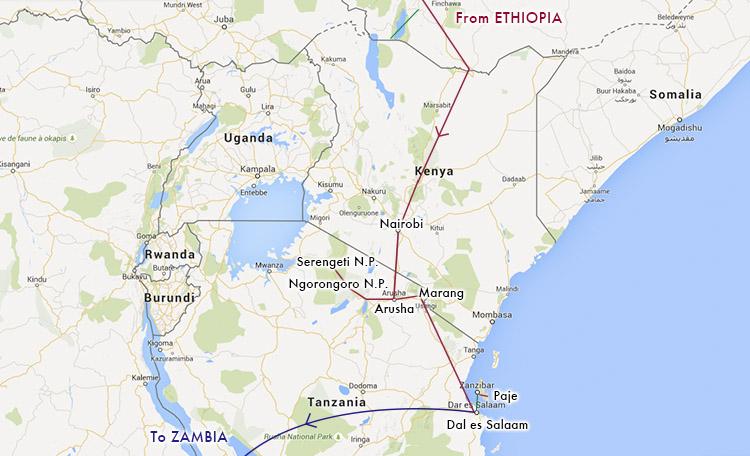 世界一周 ケニア タンザニア ルートマップ