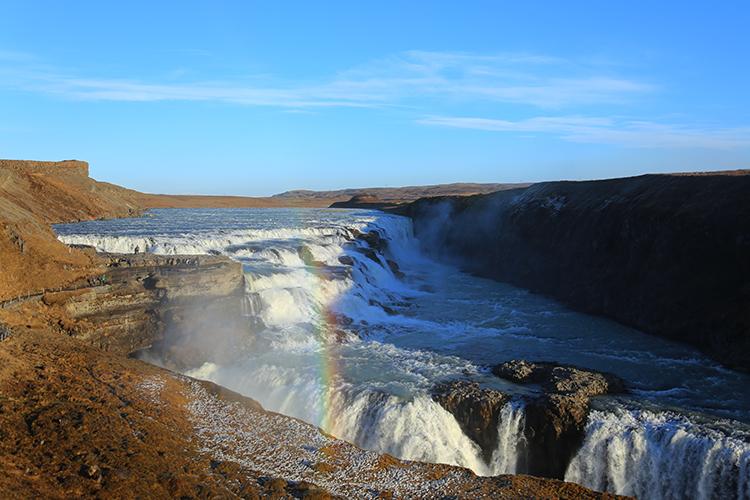 アイスランド 滝 虹