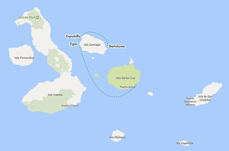 ガラパゴス諸島 ルートマップ ツアー バルトロメ島