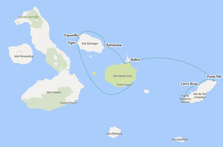 ガラパゴス諸島 ルートマップ ツアー バルトラ島