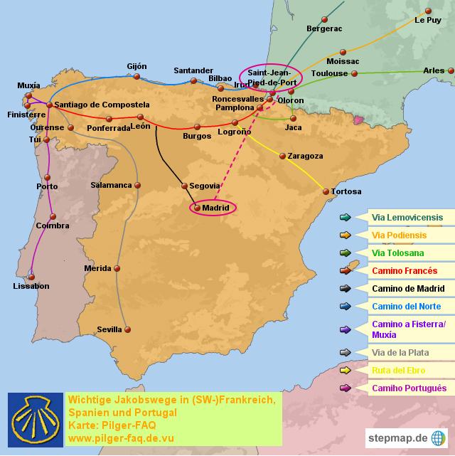サンティアゴ巡礼 カミーノ 地図 フランス人の道