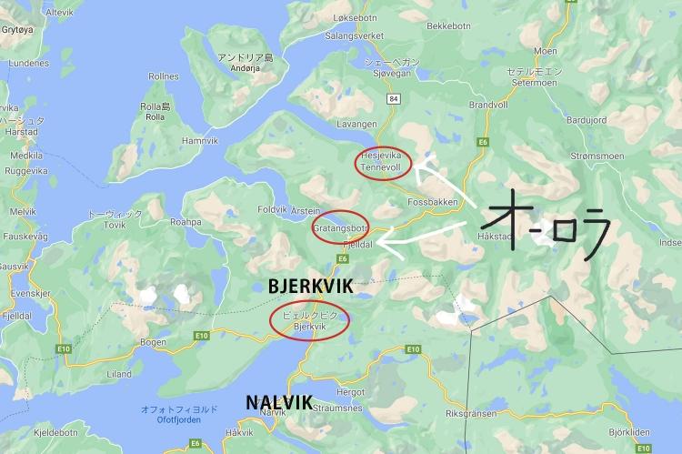 ノルウェー 地図 レンタカー オーロラ