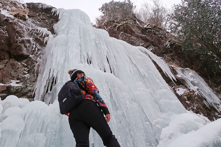 宝満山 難所が滝 氷瀑 つらら